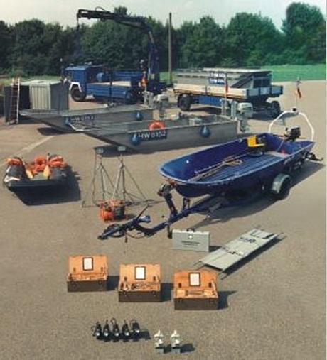 Ausstattung, Fahrzeuge und Boote der Fachgruppe Wassergefahren (Bild: THW Bundesschule Hoya)
