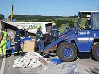 Unfall A5 - Räumen mit Radlader